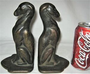 Antique Art Nouveau Cast Iron Bronze Statue Sculpture Whipet Dog Book Bookends