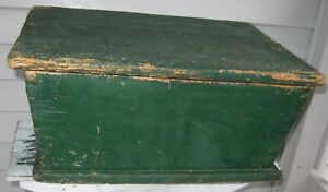 Antique Fabulous Wooden Dough Box W Lid Old Desirable Green Paint Nice Size