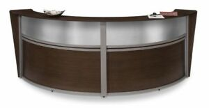 Double Unit Reception Desk In Walnut Finish W Plexi Glass And 2 Sets Of Drawers