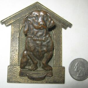 Antique Cjo Judd Cast Iron Dachshund Dog Bowl Paper Wall Clip Holder Paperweight