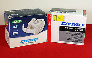 Dymo D2 Label Tapes 3 4 19mm 5 X Red 5 X Clear