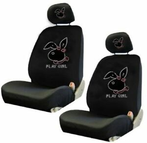 Play Girl Bunny Crystal Studded Rhinestone Car Low Back Seat Covers 4pc