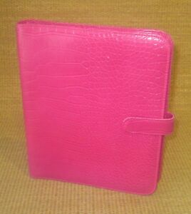Classic desk 1 Rings Pink Sim Croc Leather Cookie Lee franklin Planner binder