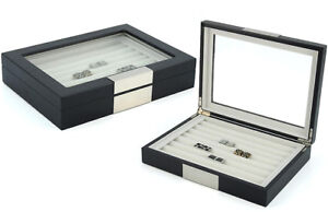 36 Cufflink Wood Case Ring Storage Box Cuff Links Jewelry Display 412036