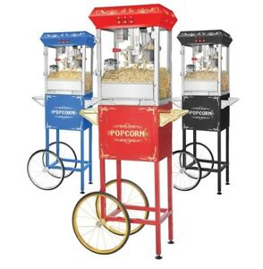Gnp Foundation Popcorn Machine 8oz Popcorn Popper W cart 8 Ounce Red black blue