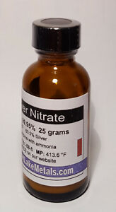Silver Nitrate 25 Grams 99 95 Pure Freshly Made