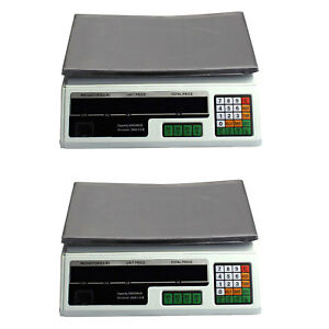 2 Digital Deli Weight Scales Price Computing Food Produce 66lb Acs 03