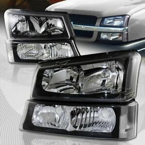 For 2003 2006 Chevy Silverado Avalanche 1500 2500 Black Head Lights Bumper Lamp