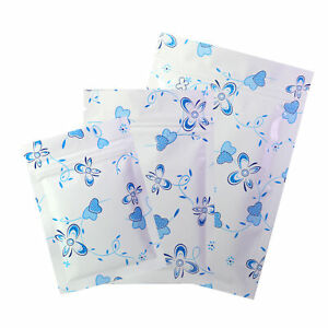 Flat White Zip Lock Mylar Bags W Blue Butterfly Hearts In Variety Qty And Sizes