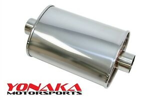 Yonaka T304 Polished Stainless Steel 2 5 High Flow Exhaust Performance Muffler