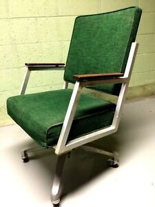 Vtg 70 S Industrial Modern Desk Chair Shaw Walker Burlap Texture Euc