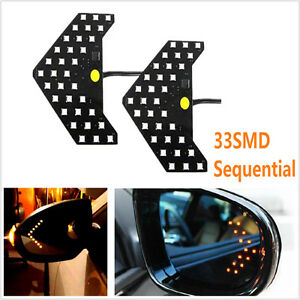 2x Yellow 33 Smd Led Arrows For Car Rear Side Mirror Turn Signal Indicator Light