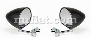 Fiat 1100 Black Clamped Side View Mirror Set New