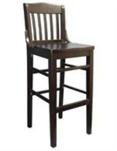 New Commercial Restaurant Schoolhouse Barstool Wood Furniture Walnut B3037bs