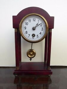 Antique Small Table Clock Pendule Wood Porcelain Dial Working