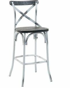 New Steel Barstool Chinese Fir Wood Seat Commercial Restaurant Furniture 2108bs
