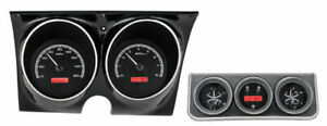 Dakota Analog 67 Camaro Firebird W console Gauges Black Red Vhx 67c cac