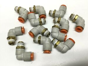 Lot Of 12 Smc Kq2l11 35as Pneumatic Fittings Elbow 3 8 Tube 1 4 Npt Thread