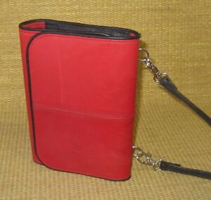 Pocket 1 Rings Red Leather Tri fold Franklin Covey Planner binder Purse