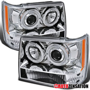 For 1993 1996 Jeep Grand Cherokee Clear Halo Rims Projector Headlights Lamps