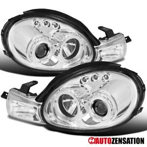 For 2000 2002 Dodge Neon Clear Led Halo Projector Headlights W Signal Lamps