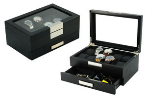 10 Watch Jewelry Drawer Wood Display Box Case Gift Collector Storage 2351bl