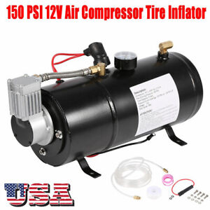 Dc 12v Truck Pickup On Board Air Horn Air Compressor 150psi 3 Liter Tank Set Us