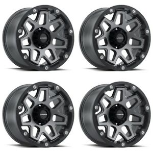 Set 4 17 Vision 416 Se7en Grey Rims 17x9 5x5 12mm Jeep Wrangler Chevy Gmc 5 Lug