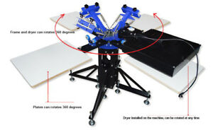Screen Printing Press Equipment Metal Stand 3 Color 4 Station With Flash Dryer