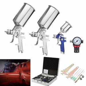3 Hvlp Air Spray Gun Kit Auto Paint Car Primer Detail Basecoat Clearcoat Us