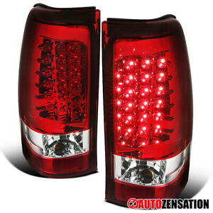 For 2003 2006 Chevy Silverado 1500 2500 Red Full Led Tail Lights Brake Lamps