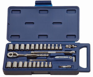 27pc 1 4 drive Sae Metric Supertorque 6point Sockets Drive Tools Set 50661a