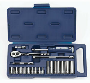 21 Pieces 1 4 Drive Sae Supertorque 6 Point Chrome Sockets Drive Tools Set