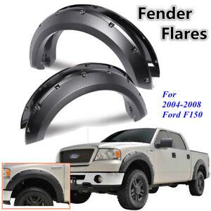 Pickup Fender Flares Pocket Rivet For Ford F150 04 08 Textured Set Bolt On Black