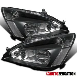 For 2003 2007 Honda Accord Lx Ex 2dr 4dr Pair Black Headlights Lamps