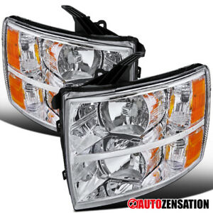 For 2007 2014 Chevy Silverado 1500 2500 3500 Clear Lens Headlights Lamps Amber