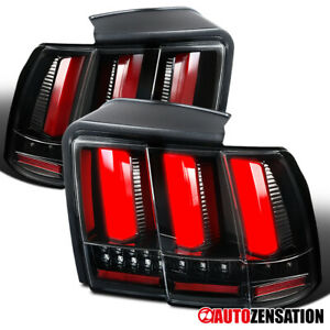 For 1999 2004 Ford Mustang Slick Black Tail Lights W Led Sequential Signal Tube