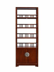 Chinese Distressed Brown 4 Shelves Bookcase Display Cabinet Cs3437