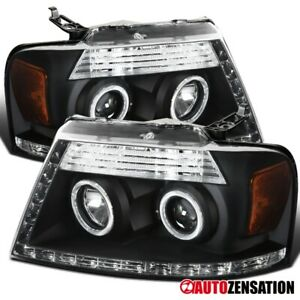 For 2006 2008 F150 Lincoln Mark Lt Black Led Strip Halo Projector Headlights