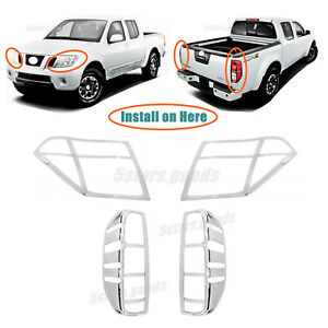 Chrome Headlight Taillight Molding Covers Trims For 2005 2017 Nissan Frontier