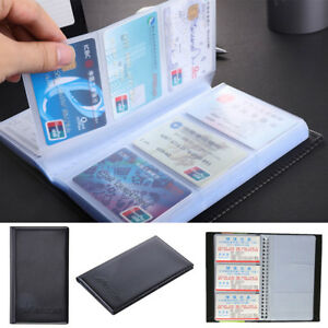Black Leather 120 Business Name Card Holder Book Wallet Cover Case Pouch Folder