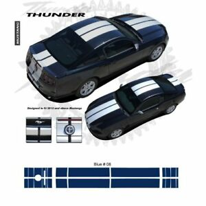 Ford Mustang W Lip Spoiler 2013 Rally Stripes Graphic Kit Blue