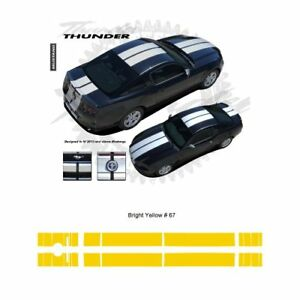 Ford Mustang W Lip Spoiler 2013 Rally Stripes Graphic Kit Bright Yellow