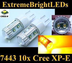 Two Orange Amber 50w High Power 10x Cree Xp e 7440 7443 Led Turn Signal Lights