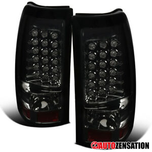 For 2003 2006 Chevy Silverado 1500 2500 Smoke Full Led Tail Lights Brake Lamps
