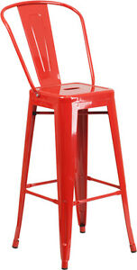 Brand New Red Commercial Indoor Metal Bar Stool Restaurant Furniture Seating