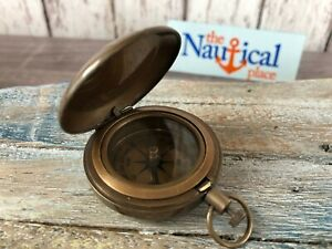 Antique Finish Brass Push Button Compass Old Vintage Nautical Pocket Necklace