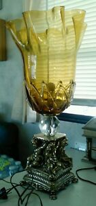 Incredible Italian Murano Glass Cherub Harry Paw Foot Mantle Lamp Hollywood