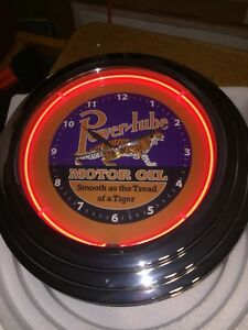 Powerlube Motor Oil Neon Tiger 12 1 2 Gas Station Lighted Advertising Clock Nib