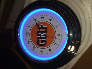 Gulf Gas Oil Neon 12 1 2 Gas Station Lighted Advertising Clock Nib